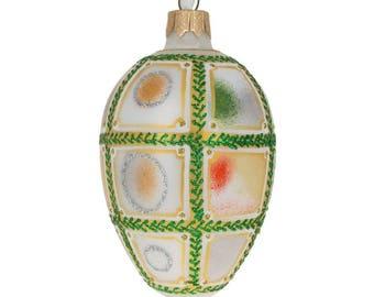 "4"" 1911 15th Anniversary Royal Egg Glass Christmas Ornament"