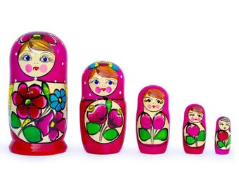 "6"" Set of 5 Maydanovskaya in Amaranth Scarf Russian Nesting Dolls"