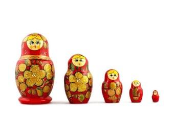 "3.5"" Set of 5 Golden Flowers on Red Dress Wooden Russian Nesting Dolls Matryoshka"