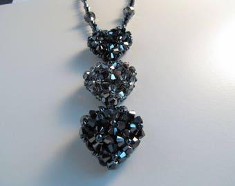 Swarovski crystal necklace 3 hearts hematite 2x-silver night