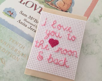 I Love You to the Moon and Back Magnet, Cross Stitch Magnet, Valentine's Day Magnet, Valentine's Day Gift, Quote Magnet