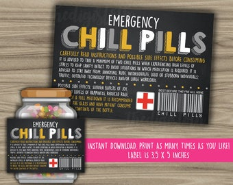 Chill Pills Printable Chalkboard Label - Funny Gift - INSTANT DOWNLOAD - Christmas Gift For Boss - CoWorker - Work Office Gag Gift - PL08