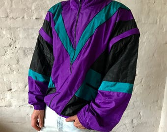 Vintage Tracksuit / Track / Jacket with detachable sleeves / Shell / Zip Up / Top / Shiny / Purple / Green / Black / XL