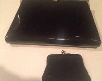 Gorgeous vintage patent leather black evening purse clutch