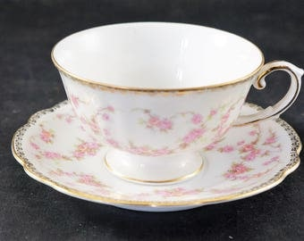 BRIDAL ROSE Cup and Saucer Made in West Germany
