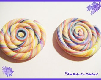 Set of 2 cabochon lollipop Candy colored polymer clay fimo