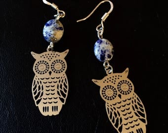 Earrings prints little owls and lapis lazuli stone
