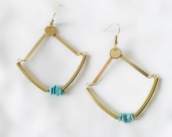 Earring, golden brass, brass earrings, Machanou jewelry for her handmade pierced earrings