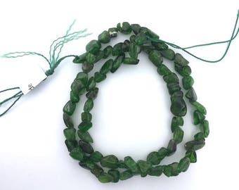 "Russian Chrome Diopside Semi-Precious 4-9 mm Nuggets Siberian Green Gemstone Bead Heart Chakra Stone Jewelry Making Supplies DIY 16"" Strand"