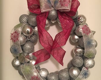 "Beautiful 18 in. ""Candyland"" Silver, Pink, Blue, Green and Snowflake Ornament Wreath"