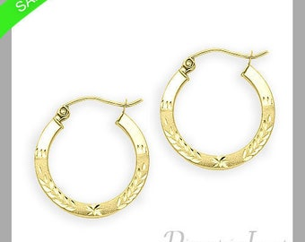 1.5mm Leaf Design Hoop Earrings In 14k Yellow Gold Now On Sale Only 66 Dollars