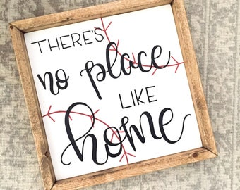 Theres No Place Like Home Baseball Sign Decor Gift Room