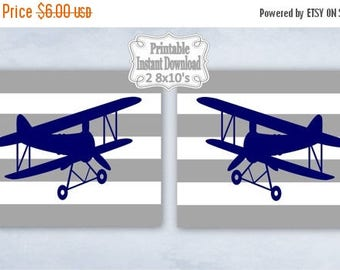 SALE Printable Antique Vintage Planes Airplanes Bi-planes Navy Grey Nursery Wall Art Decor Baby Child Kids ~ DIY Instant Download ~ 2 8x10 P