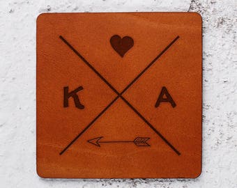 Christmas gift, Monogram gift ideas for couple, Wedding coasters favors Personalised leather coaster Newlywed gifts first xmas Coasters sets