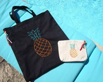 "Bag and pouch ""Pineapple"""
