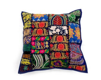 """Indian Pure Cotton Cushion Cover Home Patch Work Decorative Blue Color Size 17x17"""""""