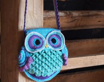 """GERMANY version of crochet pattern Owl Bag """"Blue Dreams"""", Eulen-Tasche """"Blaue Träume"""""""