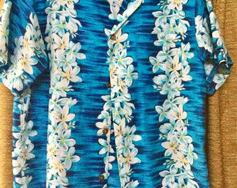 Vintage Hawaiian Shirt with metal Chinese Coin Buttons