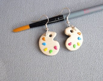 Earrings gift idea for school colors of polymer clay and painter palette * teacher thank you *.