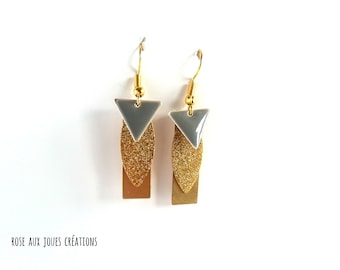 Graphic gray and gold earrings