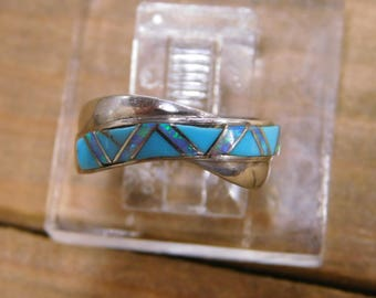 Vintage Sterling Silver Turquoise and Opal Inlay Ring Size 6.5