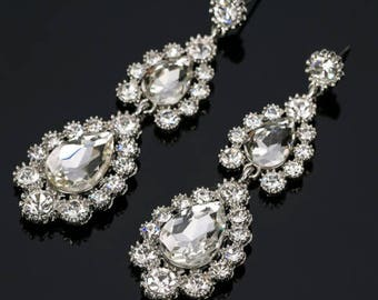 Bridal Earrings, Wedding Earrings,  Bridal Jewelry, Wedding Jewelry, Prom Earrings, Bridal Crystal Earrings