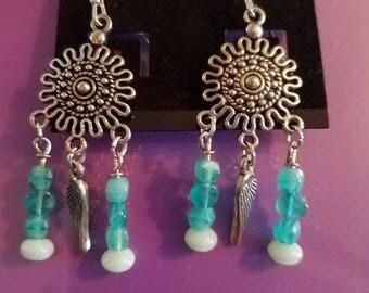 Blue wings beaded dangle earrings