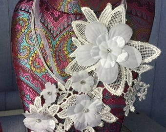 Bridal necklace, lace, fabric flowers, rhinestone, cotton string and organza