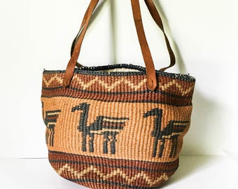 Woven straw market bag - Farmers market bag - Straw bag - Straw shopping bag - Hipster market bag - Lined market bag