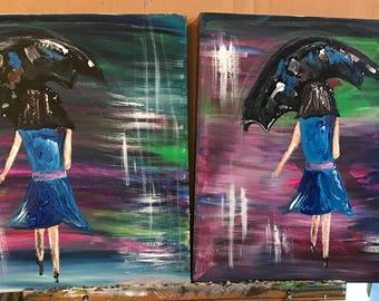 Ladies on the Go with Umbrellas