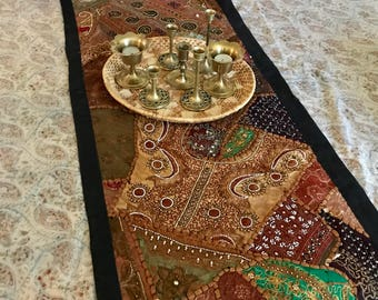 Indian Sari Patchwork Tapestry / Table Runner With Mirrors, Beads,  Embroidery / Vintage