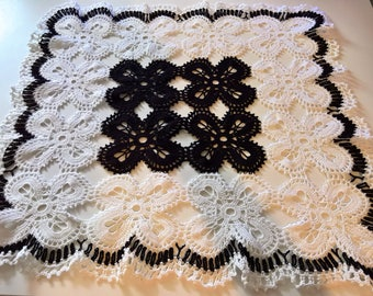 Large square doily black and white