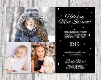 Holiday Mini Session - Christmas Mini Session Template - Photography Marketing Template - Photoshop Template - Mini Sessions