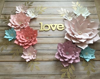 Set of 11 paper flowers/ paper flowers backdrop/ nursery decor/ nursery room