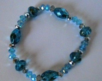 ON SALE Blue Crystal Bead Bracelet, Gift for her