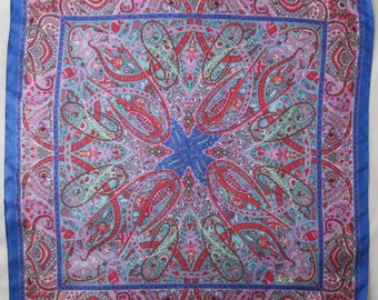 Vintage LIBERTY of LONDON  paisley design silk twill scarf blues & pinks very good condition