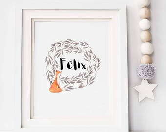 Woodland Fox Print - Personalised Fox Print