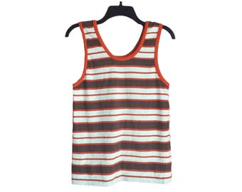 Vintage 70's Brown, Creme and Burnt Orange Striped Kmart Tank Top Xsmall/Small FREE SHIPPING!