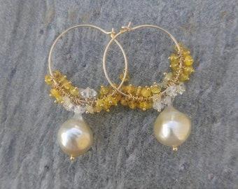 Gold South Sea Pearl and Yellow Sapphire Earrings with Diamonds, Cluster Earrings, Hoop Earrings, Chandelier Earrings