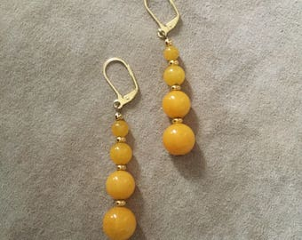 Vintage Yellow Glass Bead Earrings