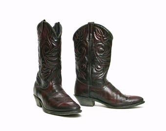 women's vintage cordovan leather southwestern indie boho cowboy boots sz 8