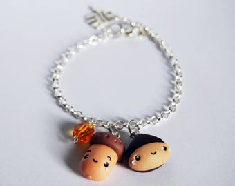 Bracelet chestnut and Acorn in fimo-Kawaii Collection Autumn