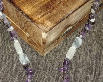 Amethyst, Rainbow Moonstone, White Onyx & Marble Necklace
