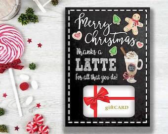 PRINTABLE Christmas Gift Card Holder Thanks A Latte - INSTANT DOWNLOAD - Thank You Coffee Starbucks Teacher Appreciation Coach Gift Idea