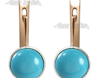 14k Solid Rose and White Gold Genuine Turquoise lever-back Earrings    E1368