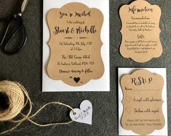 Rustic Scallop Wedding Invitation Set in White or Kraft Card