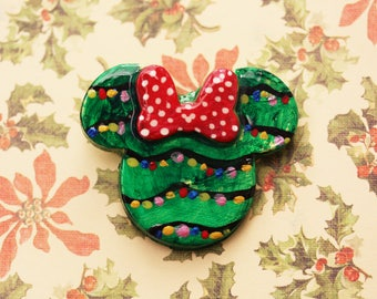 Happy Holiday Lights Disney Brooch - Christmas Minnie Brooch - Christmas Lights Minnie Disney Brooch