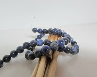 Bead, sodalite, dark blue sodalite, 10 mm, 8 mm, 6 mm - hole 1 mm - 542