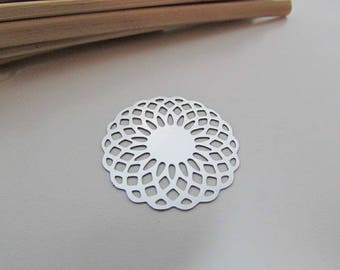 4 charms-2.5-diameter hole 1.5 cm stainless steel round filigree engraving mm - 401.18