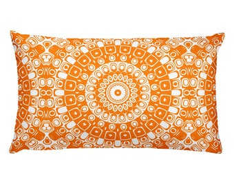 Orange Pillows, Orange and White Mandala Design Rectangle Cushion, Decorative Throw Pillow, 20x12 Lumbar Pillow